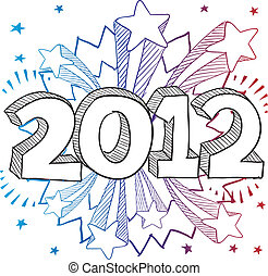 2012 explosion vector - Doodle style 2012 New Year...