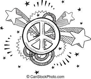 Peace explosion vector - Doodle style peach sign with 1970s...