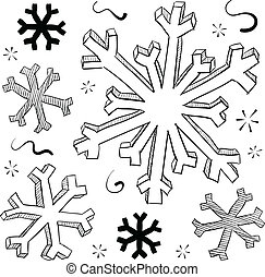 Winter snowflakes vector - Doodle style winter snowflake...