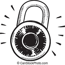 Combination lock sketch - Doodle style combination lock...