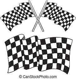 Checkered flag sketch - Doodle style car racing checkered...