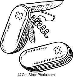 Folding knife sketch - Doodle style multitool folding knife...