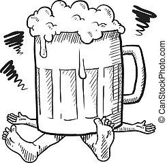 Alcoholismo, o, resaca, Bosquejo