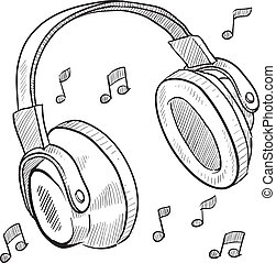 Headphones sketch - Doodle style headphones vector...