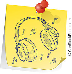 Headphone sticky note - Doodle style headphones on yellow...