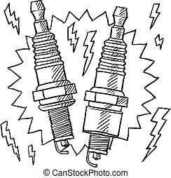 Spark plugs sketch - Doodle style automotive spark plug...