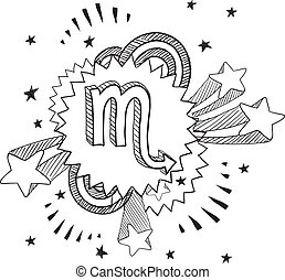 Pop Scorpio astrology symbol - Doodle style zodiac astrology...