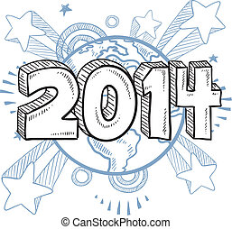 2014 New Years Eve sketch - Doodle style 2014 New Year...