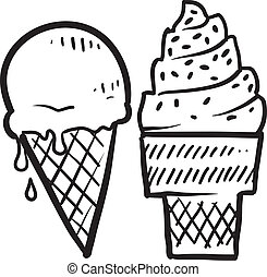 Ice cream cones sketch - Doodle ice cream cone frozen...