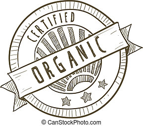 Certified organic food label - Doodle style certified...
