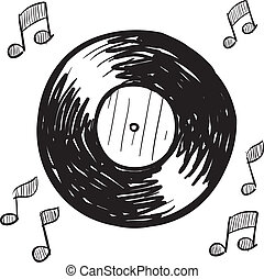 Vinyl record sketch - Doodle style vinyl record illustration...