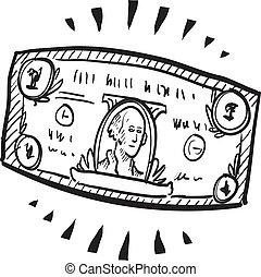 Stretching the dollar sketch - Doodle style paper currency...