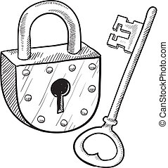 Antique lock and key sketch - Doodle style antique lock and...