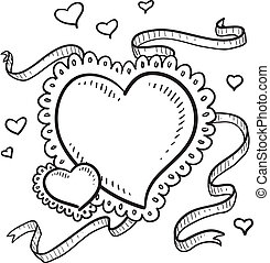 Valentines Day heart sketch - Doodle style Valentines Day...