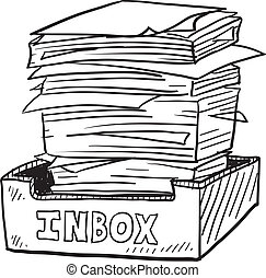 Overstuffed inbox sketch - Doodle style inbox image with a...