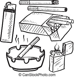 Cigarette smoking objects sketch - Doodle style cigarette...