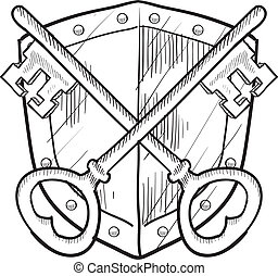 Security coat of arms sketch - Doodle style antique security...