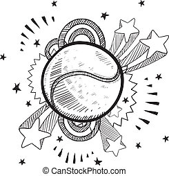 Tennis excitement sketch - Doodle style tennis ball sports...