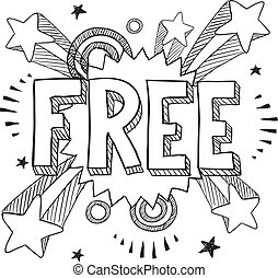 Free icon on pop background - Doodle style free icon on...