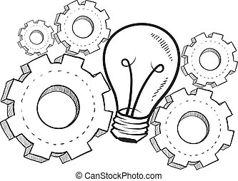 Imagination metaphor sketch - Doodle style idea light bulb...