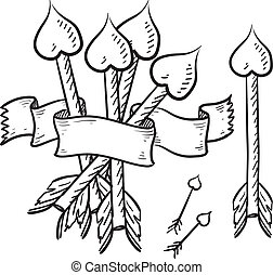 Cupid's arrows Valentine sketch - Doodle style Cupid's...