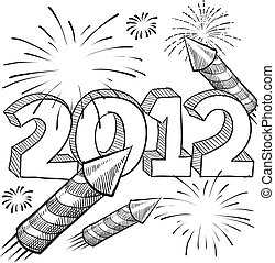 2012 fireworks sketch - Doodle style 2012 New Year...