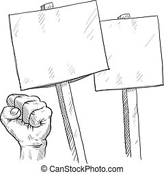 Blank protest signs sketch - Doodle style picket or protest...