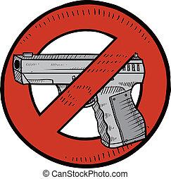 Gun control sketch - Doodle style handgun ban or gun control...