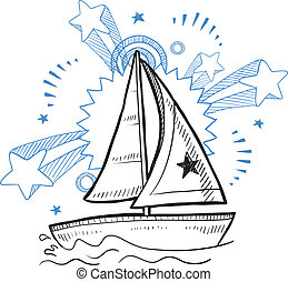 Sailboat fun sketch - Doodle style sketch of a sailboat...