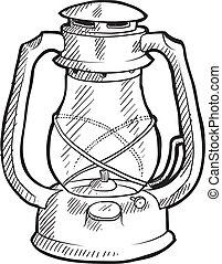 Camping lantern sketch - Doodle style retro camping lantern...