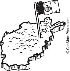 Afghanistan map and flag sketch - Doodle style map of...