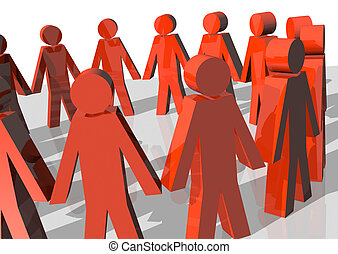 Community - 3d rendering of a circle of red men forming a...