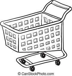 Shopping cart vector sketch - Doodle style shopping cart...
