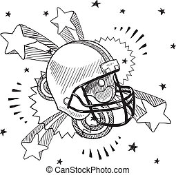 Football excitement sketch - Doodle style football helmet...