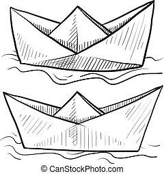 Paper boats sketch - Doodle style origami folded paper boat...