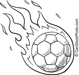 Soccer excitement vector - Doodle style flaming soccer or...