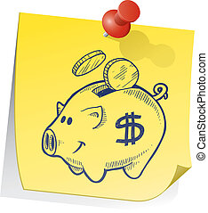 Remember to save vector - Doodle style piggy bank on yellow...
