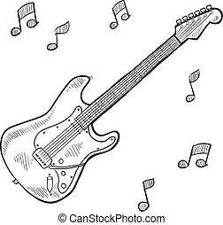 Electric guitar sketch - Doodle style electric guitar in...