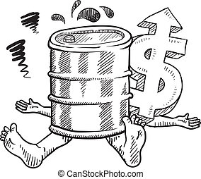 Crushed by oil prices sketch - Doodle style oil prices...