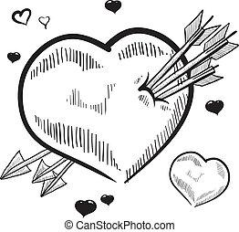 Heart pierced by arrows sketch - Doodle style love heart...