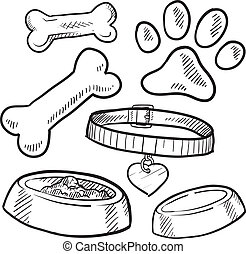 Pet objects sketch - Doodle style pet gear sketch in vector...