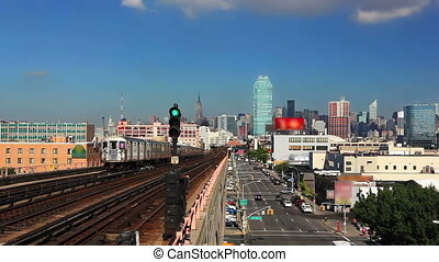 New York skyline and subway train - New York City skyline...