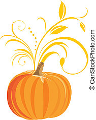 Pumpkin with decorative sprig. Vector illustration