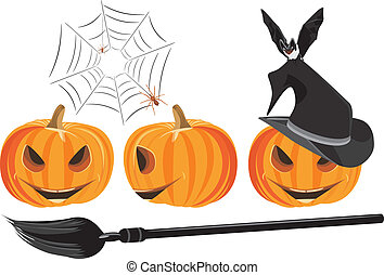 Halloween pumpkins isolated on the white Vector illustration...