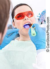 Dentista, usos, photopolymer, lámpara, gusto, dientes