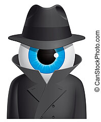 Eyeball spy - Isolated illustration Eyeball spy character