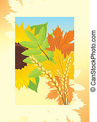 Autumn frame with leaves
