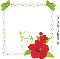 Red flowers in the decorative frame. Vector illustration