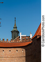 Sights of Poland. Warsaw Old Town with Renaissance Barbican