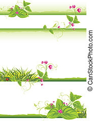 Borders with sprigs and flowers - Borders with sprigs and...